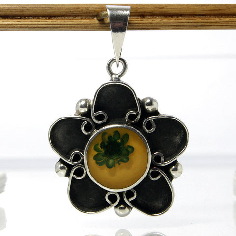 Vintage Mexican Sterling Real Flower Pendant - Greg DeMark