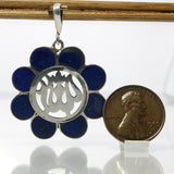Vintage Lapis Lazuli Pendant Sterling Silver With Blue Gemstone Inlay - Greg DeMark