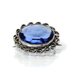 Vintage Filigree Brooch Bezel Set With Sapphire Blue Color Glass - Greg DeMark