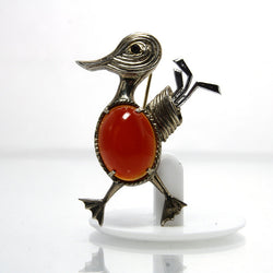 Vintage Sterling Silver Duck Golfer Brooch With Oval Carnelian - Greg DeMark
