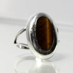 Vintage Tiger Eye Ring Mexican Sterling Silver Size 5.5 Eagle 3 Taxco - Greg DeMark