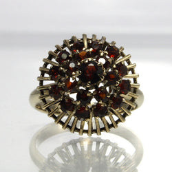 Vintage 14K Yellow Gold Garnet Princess Ring Size 6 - Greg DeMark