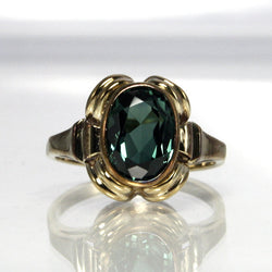 Vintage Gemstone Ring Size 5.25 Teal Blue Lab Created Spinel 8K Gold - Greg DeMark