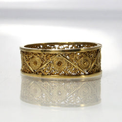 Vintage Filigree Wedding Band 14K Yellow Gold Size 6.25 Handmade Ring - Greg DeMark
