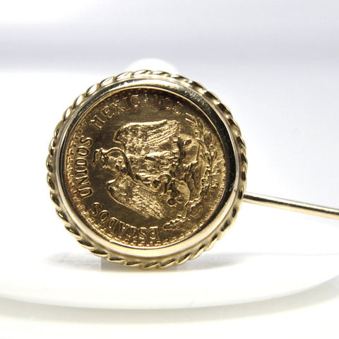 Vintage 1945 Mexican 2 Pesos Gold Coin 14K Stickpin - Greg DeMark