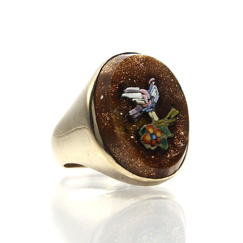 Antique 14K Micro Mosaic Goldstone Bird Ring Size 5 - Greg DeMark