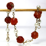 Vintage 14K Carved Carnelian And Cultured Pearl Bracelet 7.5 Inches - Greg DeMark