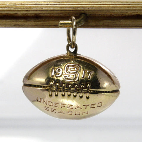 Vintage 14K Football Charm 1917 Undefeated Season - Greg DeMark