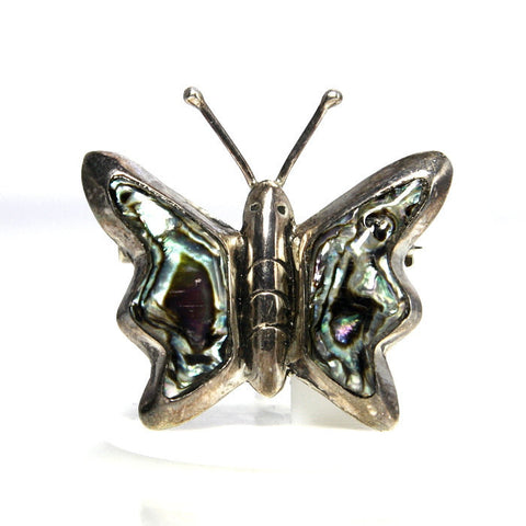 Vintage Taxco Mexican Sterling Abalone Butterfly Brooch - Greg DeMark