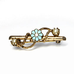 Vintage Bar Pin With A Turquoise Blue And White Enamel Flower - Greg DeMark
