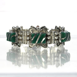 Mexican Sterling Silver Bracelet Bezel Set With Green Onyx - Greg DeMark