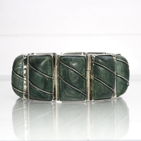 Vintage Mexican Sterling Green Jade Bracelet 7 Inches - Greg DeMark
