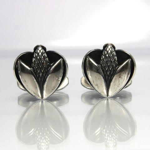 Vintage Danish Modern Sterling Flower Cufflinks Lund - Greg DeMark