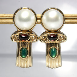 Vintage 14k Gold Gemstone Earrings Pierced With Omega Clip Backs - Greg DeMark