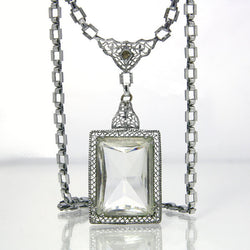 Art Deco White Rhodium Filigree Clear Glass Necklace 16 15/16 Inches - Greg DeMark