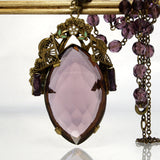 Vintage Enamel Flower Purple Glass Czech Style Necklace 17.5 Inches - Greg DeMark