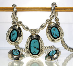 Vintage Navajo Teddy Goodluck Jr Turquoise Necklace And Earring Set - Greg DeMark