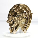 Vintage Rolled Gold Jumping Horse Horseshoe Brooch - Greg DeMark