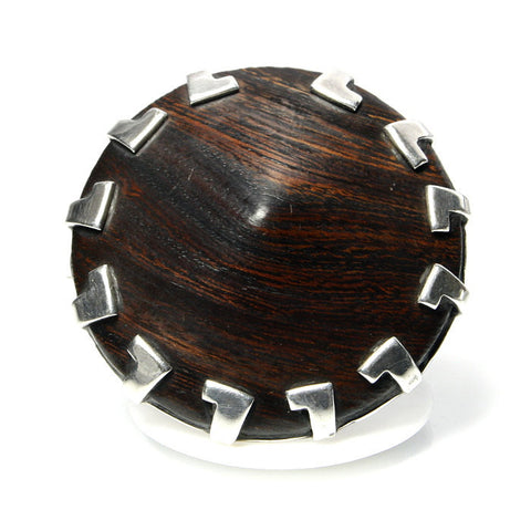 Vintage Handmade Sterling Silver And Wood Brooch 1.75 Inches Diameter - Greg DeMark