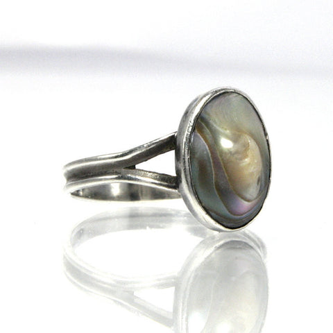 Vintage Abalone Ring Blister Shell Sterling Silver Size 6.75 - Greg DeMark
