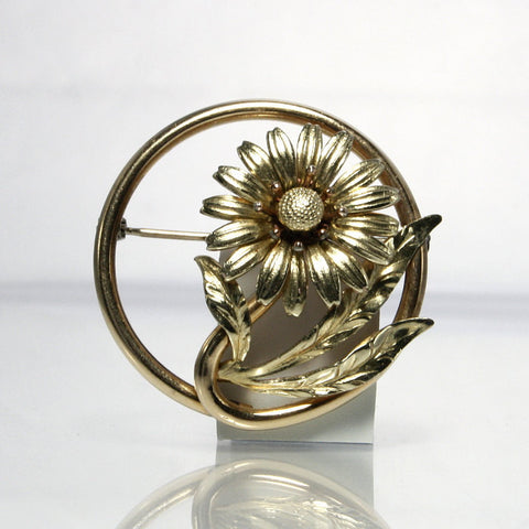 Vintage Gold Filled Flower Circle Brooch Signed Taylord 1/20 12K - Greg DeMark