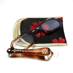 Vintage Rhinestone Lorgnette Folding Opera Glasses With Case - Greg DeMark