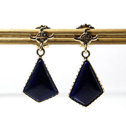 Vintage Native American Navajo14K Lapis Dangle Earrings Andy Lee Kirk - Greg DeMark