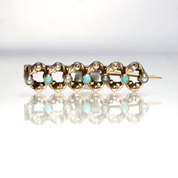 Antique 9K Rose Gold Pearl Turquoise Brooch - Greg DeMark