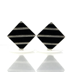 Vintage Mexican Sterling Black Onyx Clip On Earrings - Greg DeMark