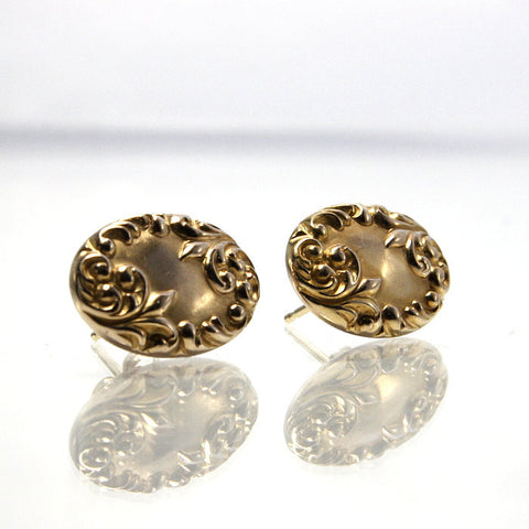 Vintage 14K Yellow Gold Pierced Earrings Made From Antique Cufflinks - Greg DeMark