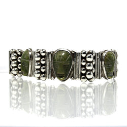 Vintage Mexican Sterling Jade Mask Bracelet 7.25 Inches - Greg DeMark