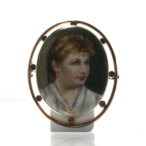 Antique Rolled Gold Hand Painted Porcelain Miniature Brooch - Greg DeMark