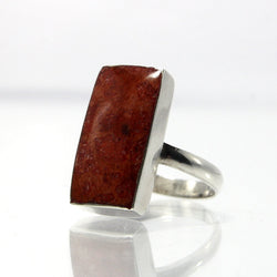 Vintage Sterling Silver Coral Ring Size 6.75 - Greg DeMark