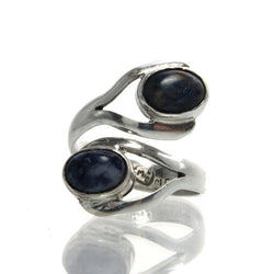 Vintage Mexican Silver Sodalite Bypass Ring Size 8 Eagle 3 - Greg DeMark