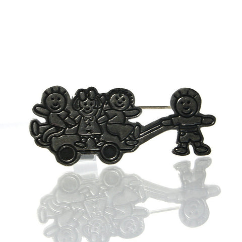 Vintage Mexican Children Wagon Pin Brooch We Are The Children - Greg DeMark