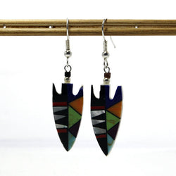 Vintage Native American Hopi Style Mosaic Arrowhead Earrings - Greg DeMark