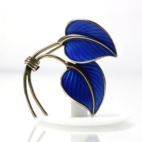 Vintage Norwegian Sterling Blue Enamel Leaf Brooch Bernard Meldahl - Greg DeMark