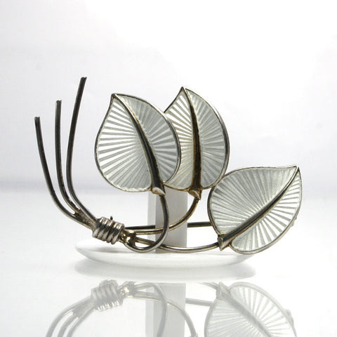 Vintage Albert Scharning Sterling Silver And White Enamel Leaf Brooch - Greg DeMark