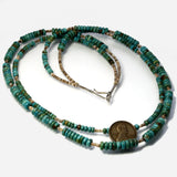 Vintage Turquoise Beads And Tan Shell Heishe Necklace 23 Inches Long - Greg DeMark