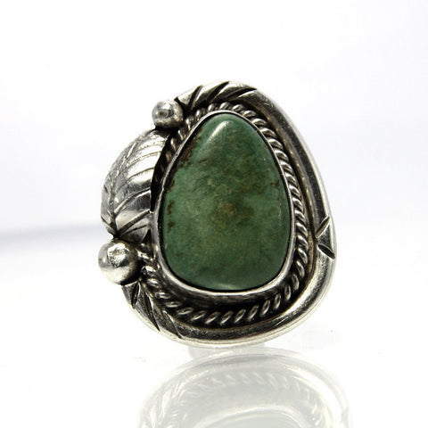 Vintage Native American Green Turquoise Ring Sterling Silver Size 6 - Greg DeMark