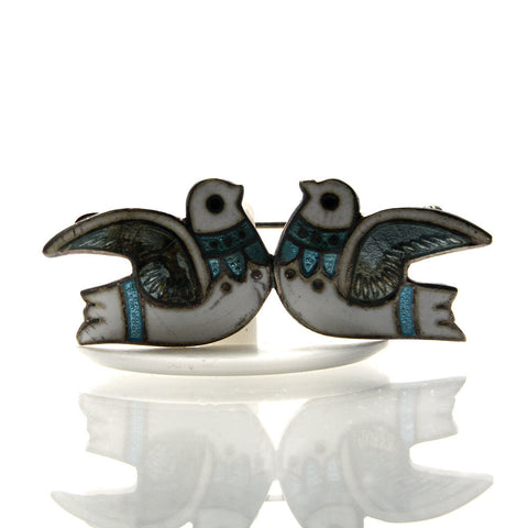 Vintage Mexican Sterling Margot De Taxco Enamel Dove Brooch - Greg DeMark