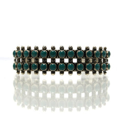 Vintage Native American Zuni Double Row Turquoise Snake Eyes Bracelet - Greg DeMark