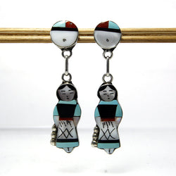 Vintage Teresa Waseta Zuni Gemstone Inlay Earrings Maiden With Sun God - Greg DeMark