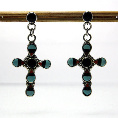 Vintage Zuni Cross Earrings With Gemstone Inlay Signed ZME - Greg DeMark