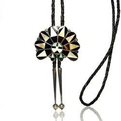 Vintage Zuni Inlay Sun God Bolo With Black Leather Braided Cord - Greg DeMark