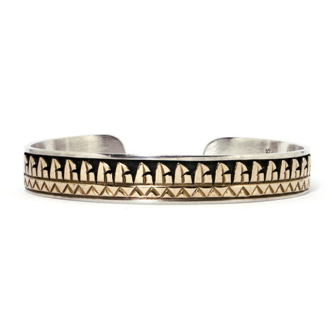 Vintage Southwestern Native American Bracelet Sterling Silver And 14K - Greg DeMark