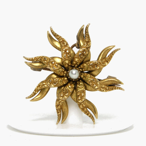 Antique 10K Pearl Flower Pendant Brooch - Greg DeMark