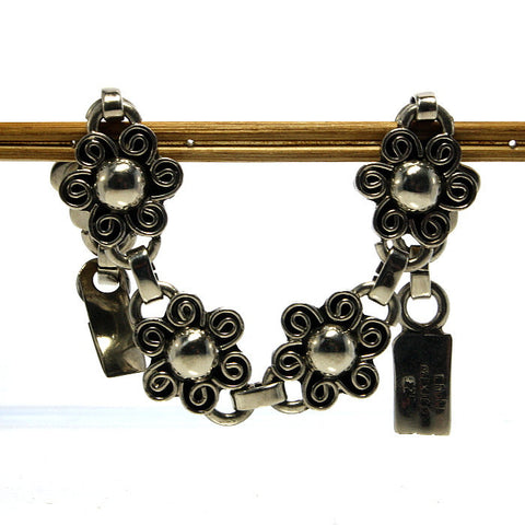 Vintage Mexican Sterling Flower Bracelet 7 5/8 Inches - Greg DeMark