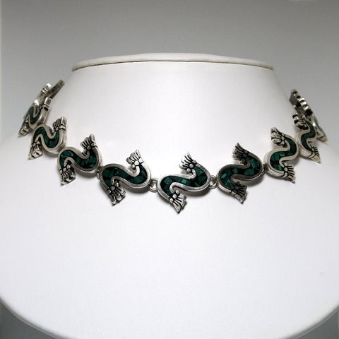 Mexican Silver Necklace With Malachite Inlay 17 1/8 Inches Long - Greg DeMark