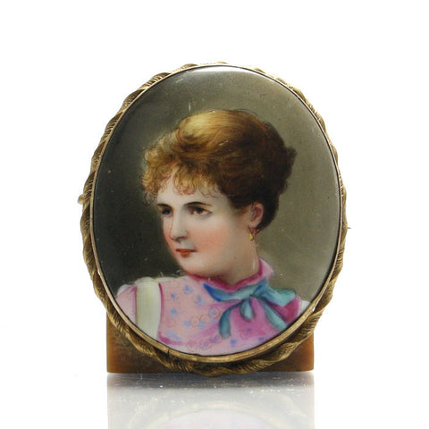 Large Vintage Hand Painted On Porcelain Miniature Brooch - Greg DeMark